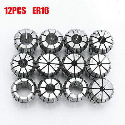New 12Pcs ER16 Spring Collet Set For CNC Milling Lathe Tool Engraving Machine Ji • 11.56£