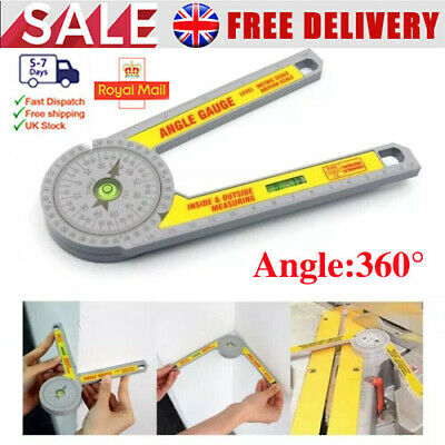 UK Angle Finder Miter Saw Protractor Measuring Ruler Tool Goniometer Pro Durable • 8.99£