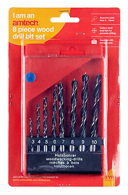 New 8Pc Wood Working Drill Set 3 4 5 6 7 8 9 10Mm Storage Case Straight Shank • 3.30£