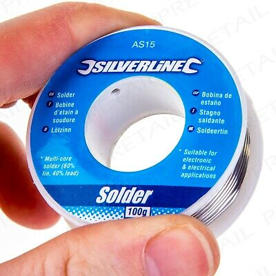 SILVERLINE QUALITY 100g REEL OF 60:40 TIN LEAD SOLDERING WIRE Electrician/Hobby • 5.99£