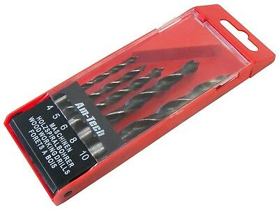 WOOD DRILL BIT SET - 5 Piece Set - 4mm-10mm - Storage Case - Same Day Despatch • 3.75£