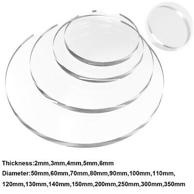 Clear Circle Plastic Acrylic Discs Glass Dia 50 70 80 100 200 300mm Laser Cut • 21.89£