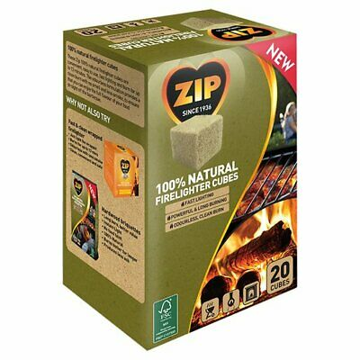 Zip 100% Natural Firelighter Cubes Case Of 200 (10x20) Odourless Fast Lighting  • 24£