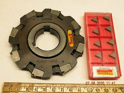 Sandvik T-Max A331.2-1001 2 100mm Indexable Side And Face Cutter +10 Inserts • 74£