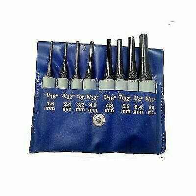 8PCs SHORT DRIVE PIN PUNCH HARDENED & GROUND SET • 12.50£