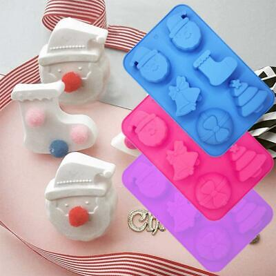 Christmas Gifts Series Six Grid Christmas Socks Silicone Cake Mould • 4.48£