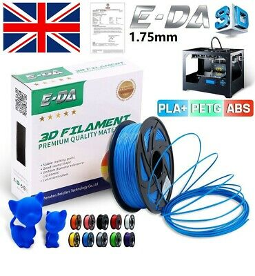 E-DA 3D Printer Filament Printing PLA ABS PETG TPU 1.75mm 1KG Spool Muti-Color • 18.99£