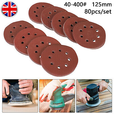 80pc 125mm Wet And Dry Sanding Discs  8-hole 5 Inch Sandpaper 40~400 Grit Pads • 9.99£