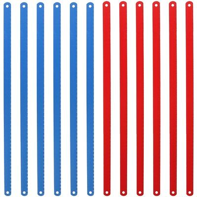 12pc JUNIOR HACKSAW BLADES Red Blue 24 TPI (12 X1/2 X24T) Spare Flexible Steel • 3.98£