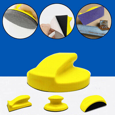Rectangle Manual Sander Hook Loop Hand Sanding Blocks Round Mouse-shaped Yellow • 6.78£