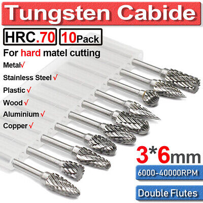 10Pcs 3*6mm Tungsten Carbide Double Cut Rotary Point Burr 1/8  Shank Fit Rotary • 9.99£