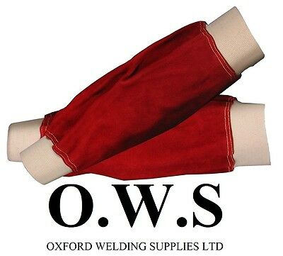Red Leather Welders Sleeves Elasticated Cuff 14  For Welder / Blacksmith • 7.10£