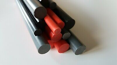 PVC Round Rod Bar Plastic Red, Black, Grey 6 To 25mm Diameter, 100 To 600mm Long • 15.10£
