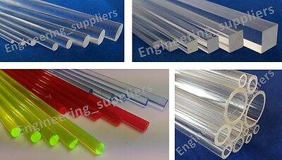 Clear Acrylic Round, Square, Colour Rods Bars & Tube 2 - 25mm Dia 100 - 600mm Lg • 21.49£