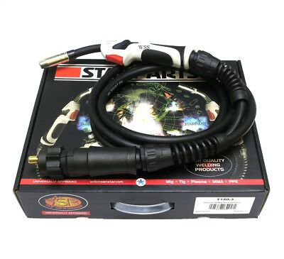 Starparts Titanium Air Cooled Mig Welding Torch ~ T150-3 Or 4 Metre Euro Fitting • 45£