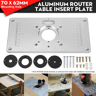 Aluminum Router Table Insert Plate W/ 4 Rings Screws For Woodworking Benches UK • 17.71£