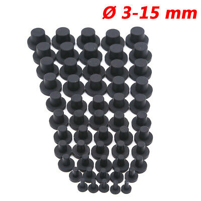 3-15 Mm Round Silicone Rubber Blanking End Cap Stopper Tube Pipe Seal Plug Black • 27.65£
