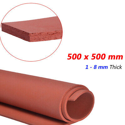 500x500 Mm Silicone Sponge Rubber Sheet Foam Rubber Seal Pad 1 To 8 Mm Thick Red • 15.39£