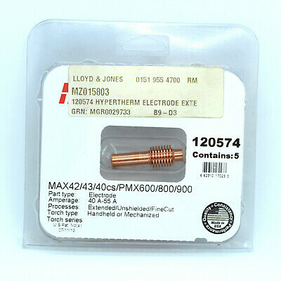 Hypertherm® 120574 Extended Electrode For Powermax600/MAX Plasma Torch (Pkt 5) • 40.50£