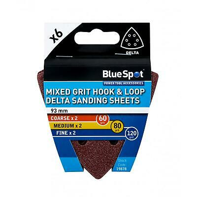 6 X Mixed Grit Hook And Loop 93mm Detail Sanding Sheets, Delta Sandpaper Pads • 3.25£