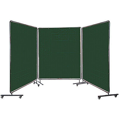 VEVOR 6' X 6' Welding Curtain 3 Panel Welding Screen With Frame Portable Wheels • 179.98£
