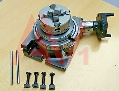 Rotary Table Horizontal And Vertical 4 100mm With 65mm 4 Jaw Chuck & Backplate • 108.09£