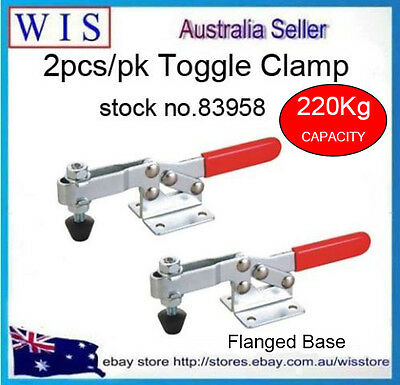 2/PK 220Kg Toggle Clamps,Horizontal Bar With In-line Handle,Flanged Base-83958 • 16.08£