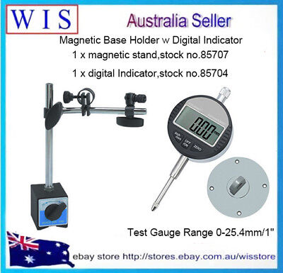 "0-25.4mm/1"" Digital Dial Indicator 0.01/.0005'' W 60Kg Magnetic Base Holder • 57.71£"