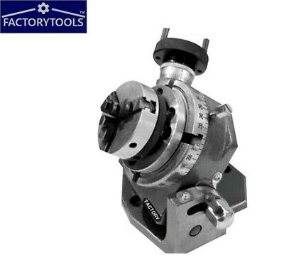 Rotary Table Tilting 4  / 100mm With 65mm Lathe Chuck For Milling Machine • 99£