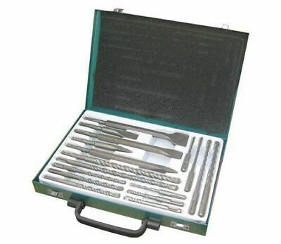 New 17pc Sds Drill Bits Flat Centre Chisel Bits Set With Storage Case • 19.99£