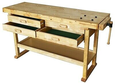 Heavy Duty Solid Wooden Woodworking Work Bench 4 Drawers & Vice • 149.99£