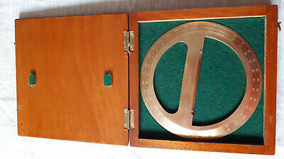 Engineers 360 Degree Protractor, Brass, In Wooden Box, Mint Condition • 5.50£