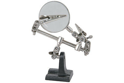 HELPING HANDS Holder With Magnifier Model Makers Hobby Pcb Soldering Clamp Arms • 6.49£