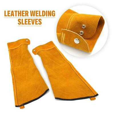 One Pair Cow Leather Welding Sleeves With Elastic Cuff,Welder's Leather Sleeve • 15.65£