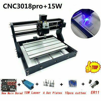CNC 3018 PRO Laser CNC GRBL With 15W Laser Module Can Work For Steel 24V DIY Kit • 299.99£