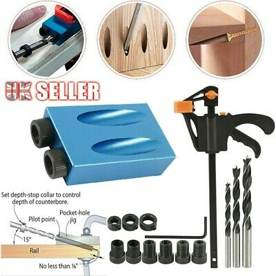 15pcs Pocket Hole Jig Kit Woodworking 15° Guide Oblique Drill Angle Hole Locator • 8.99£