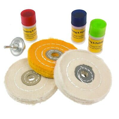 7pc Metal Cleaning & Polishing Buffing Wheel Kit With Compound Blocks Fits Drill • 10.95£