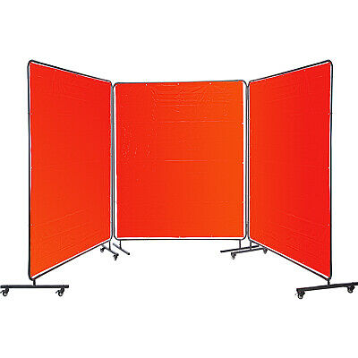 VEVOR Welding Screen Welding Curtain 3 Panel 6' X 6' Flame Retardant, Frame, Red • 179.99£