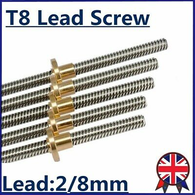 Lead Screw T8 Pitch Lead 2mm/8mm Rod Stainless Linear Rail Bar 100mm-1200mm CNC • 10.40£