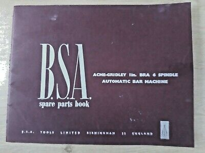 BSA Acme Gridley 1  BRA 6 Spindle Automatic Bar Machine Spare Parts Manual  • 32.99£
