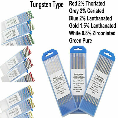 10Pc TIG WELDING TUNGSTEN ELECTRODES BLUE/GOLD/GREEN/GREY/RED/WHITE 1.6mm/2.4mm • 8.39£