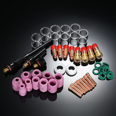 49Pcs/Set Tig Welding Torch Stubby Gas Lens Glass Cup Kit For Wp-17/18/26 D9I6 • 24.58£