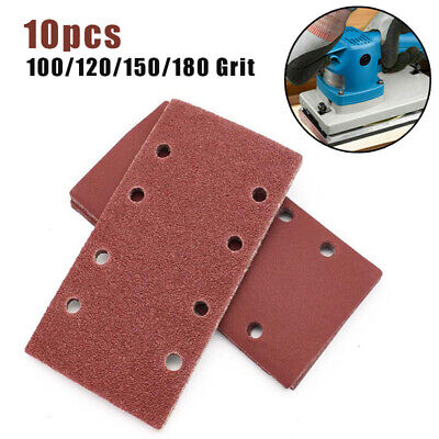 10* Punched Sanding Sheets 93 X 185mm Sandpaper Pads 8 Holes Hook And Loop Pack • 3.94£