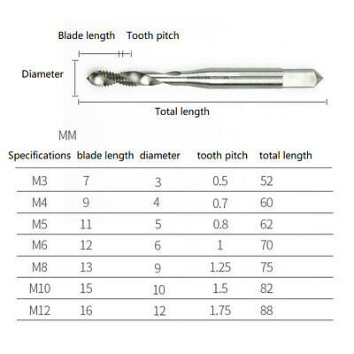 Durable Spiral Tap Tapping Drill Bit For Metric Aluminum Tapping Machine M3~ M12 • 3.71£