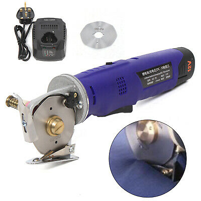 Rechargeable Round Cutter Leather Fabric Cutting Machine Rotary Blade 70mm 220V • 76.06£