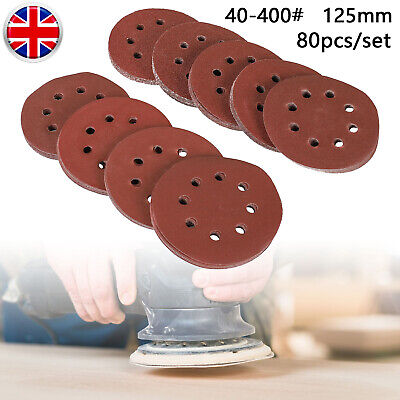 80pc Sanding Discs 125mm Pads 40-400 Mix Orbital Sander Hook Loop Sandpaper UK • 9.99£