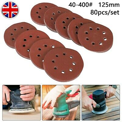 80Pcs 125mm 5'' Sanding Discs 40-400 Mixed Grit Orbital Sander Pads Assortment • 9.99£