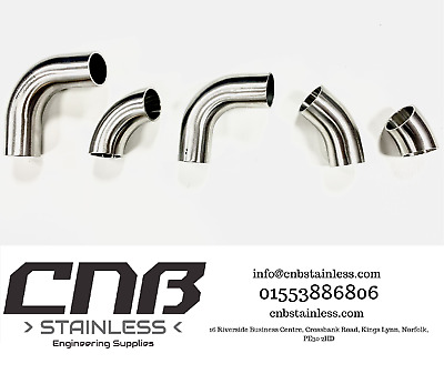 90 & 45 Degree Stainless Elbows Bends 304 316 1d Iso 3a Radius Exhaust Mandrel • 18.45£