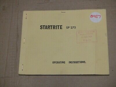Startrite Sp 275 Table Saw Operating Instructions • 20£