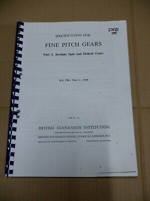 Specification For Fine Pitch Gears, Involute Spur & Helical Gears • 25£